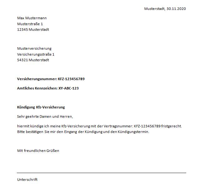 Kundigung Der Kfz Versicherung Muster Vorlage Zum Download